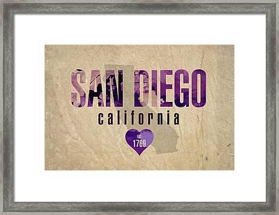 San Diego California City Love Established 1789 Series 004 Framed Print