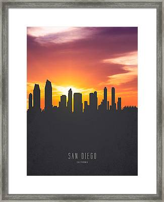San Diego California Sunset Skyline 01 Framed Print