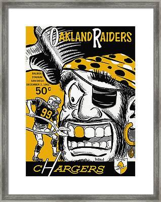San Diego Chargers Vs Oakland Raiders 1962 Program Framed Print by Big 88 Artworks