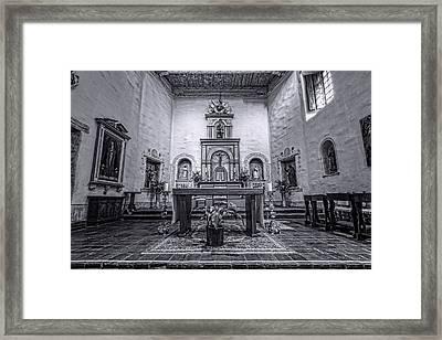 San Diego De Alcala Altar - Bw Framed Print