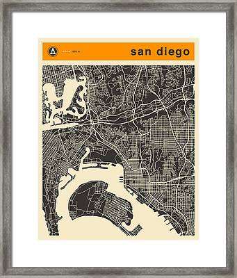 San Diego Map Framed Print