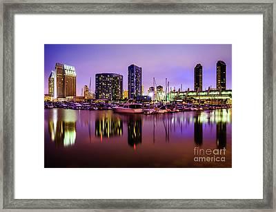 San Diego Marina At Night With Luxury Yachts Framed Print