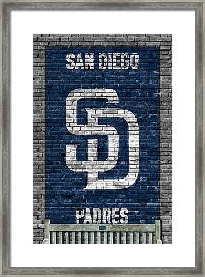 San Diego Padres Brick Wall Framed Print by Joe Hamilton