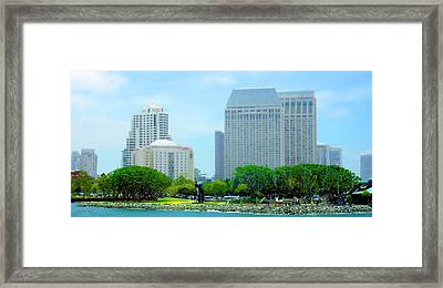 San Diego Skyline - Harbor Bay View Framed Print by Russ Harris