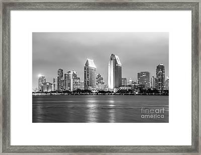 San Diego Skyline At Night Black And White Photo Framed Print