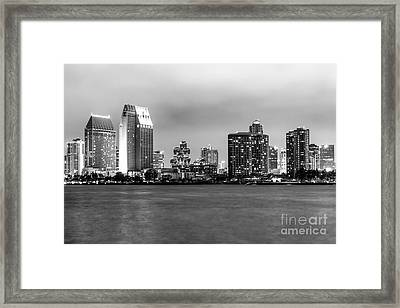 San Diego Skyline At Night Black And White Picture Framed Print by Paul Velgos