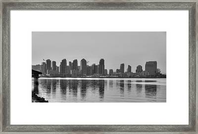 San Diego Skyline Black And White Framed Print