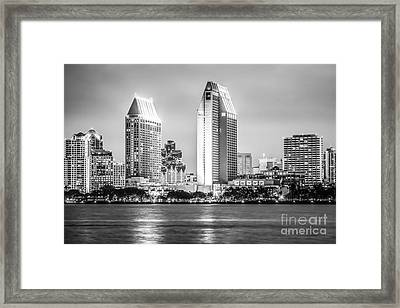 San Diego Skyline Black And White Picture Framed Print