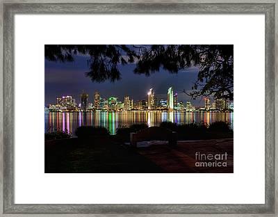 San Diego Skyline Framed Print by Eddie Yerkish