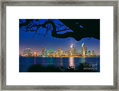 San Diego Skyline From Bay View Park In Coronado Framed Print