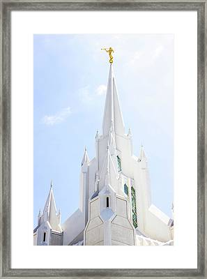 San Diego Temple Spire Framed Print by Amy Seifert