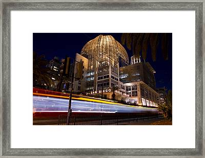 Framed Print featuring the photograph San Diego Trolley In Front Of The San Diego Public Library by Nathan Rupert