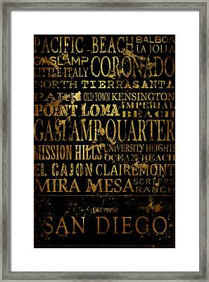 San Diego Typography Framed Print by Tanya Harrison