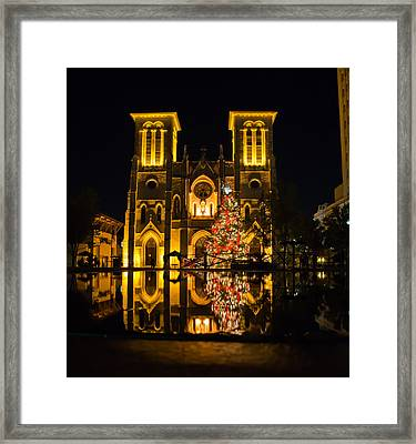 San Fernando Cathedral In Christmas 2010 Framed Print by Iris Greenwell