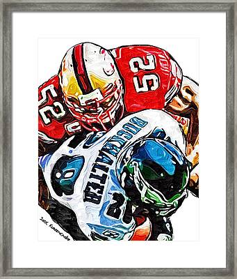 San Francisco 49ers Patrick Willis Philadelphia Eagles Correll Buckhalter  Framed Print by Jack K