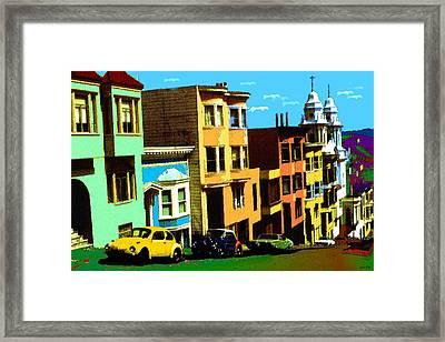 San Francisco Pop Art Blue Green Red Yellow Framed Print