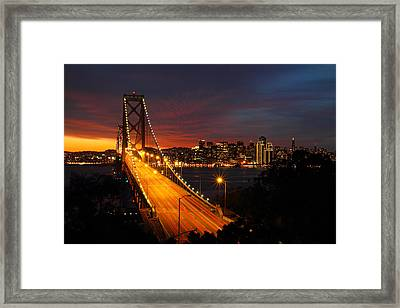 San Francisco Bay Bridge At Sunset Framed Print by Pierre Leclerc Photography