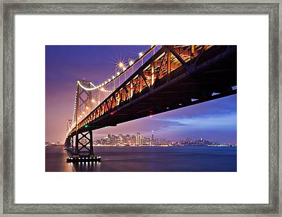 San Francisco Bay Bridge Framed Print by Photo by Mike Shaw