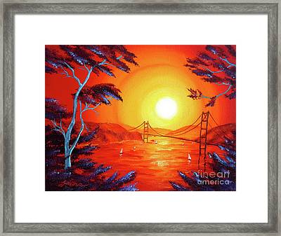 San Francisco Bay In Bright Sunset Framed Print by Laura Iverson