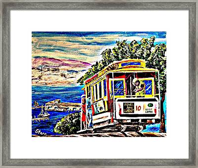 San Francisco Cable Car Art Framed Print by Irving Starr