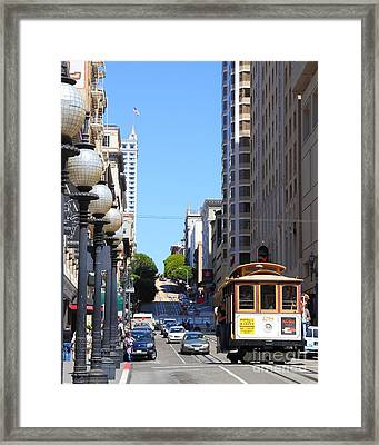 San Francisco Cablecar On Powell Street Framed Print by Wingsdomain Art and Photography