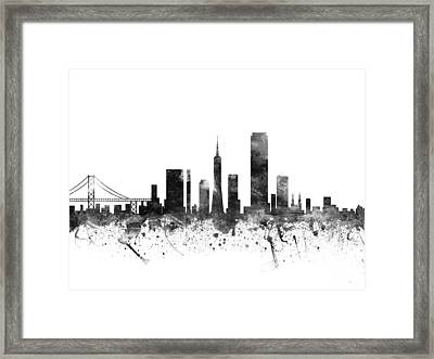 San Francisco California Cityscape 02bw Framed Print by Aged Pixel