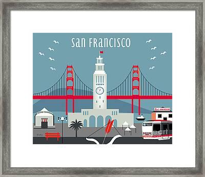San Francisco California Horizontal Skyline - Ferry Building Framed Print