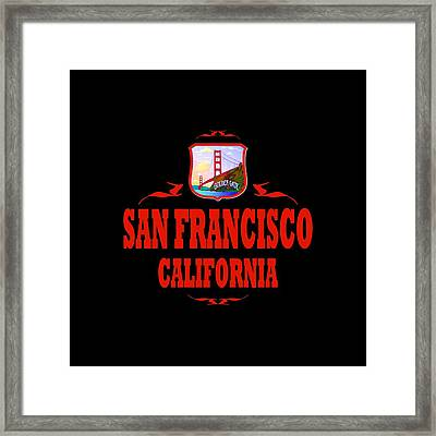 San Francisco California Tshirt Design Framed Print by Art America Gallery Peter Potter