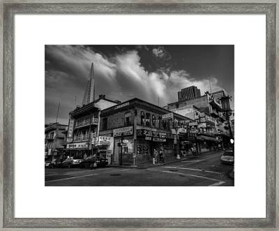 Framed Print featuring the photograph San Francisco - Chinatown 002 Bw by Lance Vaughn