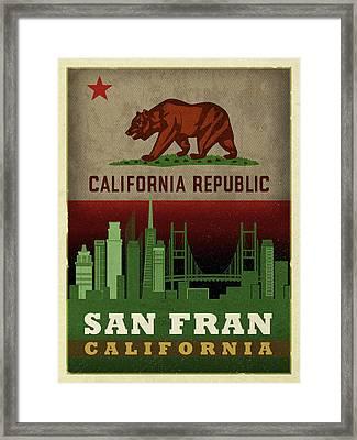 San Francisco City Skyline State Flag Of California Art Poster Series 019 Framed Print by Design Turnpike