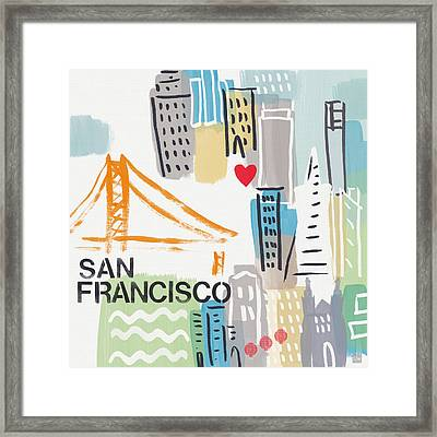 San Francisco Cityscape- Art By Linda Woods Framed Print by Linda Woods