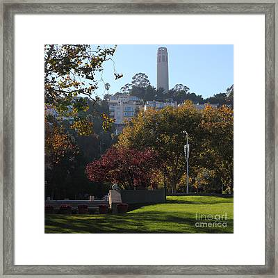 San Francisco Coit Tower At Levis Plaza 5d26217 Square Framed Print by Wingsdomain Art and Photography