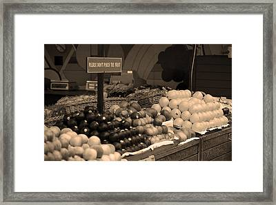 San Francisco Fruit Stand Sepia Framed Print by Frank Romeo