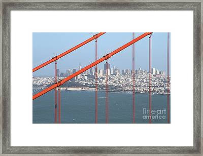 San Francisco In The Distance Through The Golden Gate Bridge . 7d14538 Framed Print