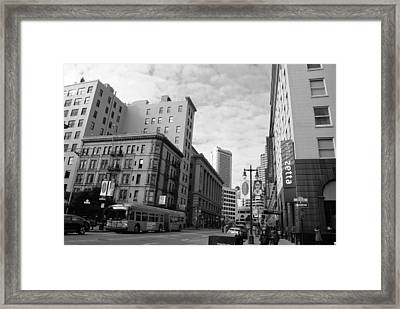 San Francisco - Jessie Street View - Black And White Framed Print