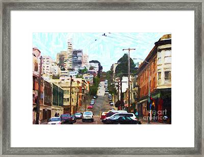 San Francisco Lombard Street Framed Print by Wingsdomain Art and Photography