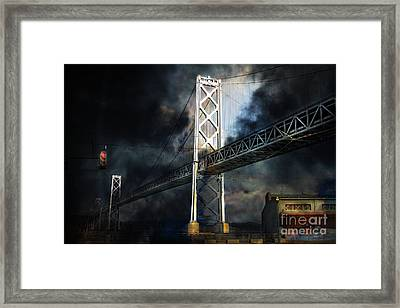 San Francisco Nights At The Bay Bridge . 7d7748 Framed Print