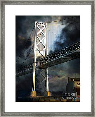 San Francisco Nights At The Bay Bridge 7d7748 Vertical Framed Print