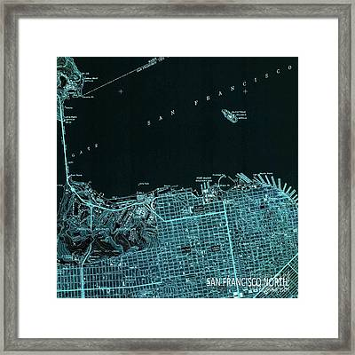 San Francisco North Old Map Year 1947 Blue Artwork Framed Print by Pablo Franchi