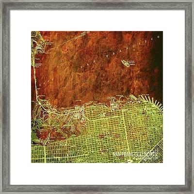 San Francisco Old Map, Green And Bronze, Vintage Paper Framed Print by Pablo Franchi