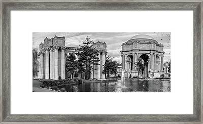 San Francisco Palace Of Fine Arts Panorama - Black And White Framed Print by Gregory Ballos