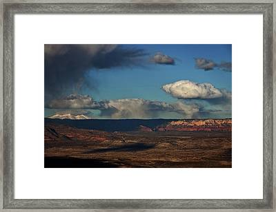Framed Print featuring the photograph San Francisco Peaks With Snow And Clouds by Ron Chilston
