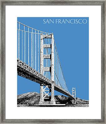 San Francisco Skyline Golden Gate Bridge 2 - Slate Blue Framed Print by DB Artist