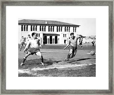 San Francisco Soccer Match Framed Print by Underwood Archives