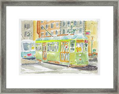 Framed Print featuring the painting San Francisco Streetcar by Pat Katz