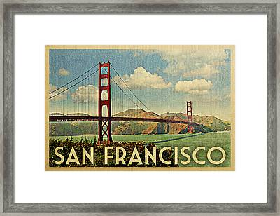 San Francisco Travel Poster - Golden Gate Framed Print by Flo Karp