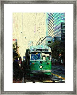 San Francisco Trolley F Line On Market Street Framed Print by Wingsdomain Art and Photography