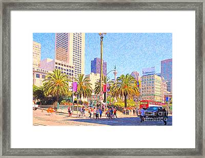 San Francisco Union Square Framed Print by Wingsdomain Art and Photography
