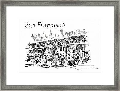 San Francisco. Victorian Houses  Framed Print by Masha Batkova