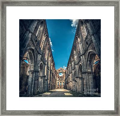 San Galgano Church Ruins In Siena - Tuscany - Italy Framed Print